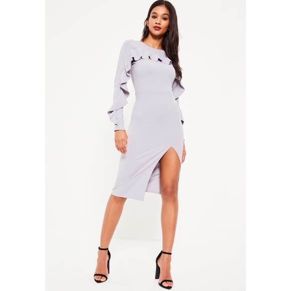 Missguided Dresses & Skirts - NWT Misguided Grey Crepe Frill Long Sleeve Dress